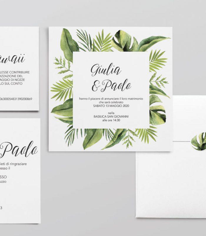 Invito nozze disegno Tahiti